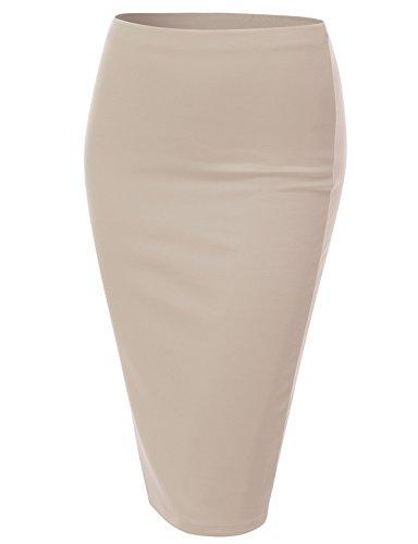 J.TOMSON Women's Basic Stretchy Semi Formal Slim Fit Midi Pencil Skirt BEIGE 3XL