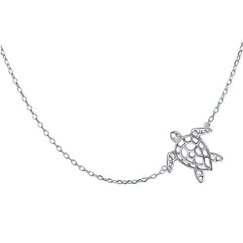 Animal Silver Necklace - S925 Sterling Silver Jewelry Sideways Turtle Animal Choker Necklace for Women Girls 15+3