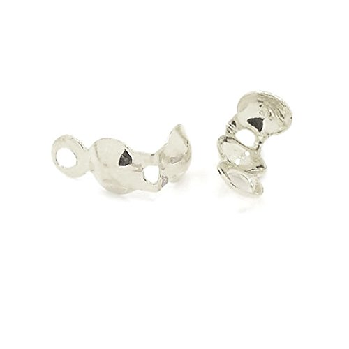 Shell Clasp (100 Bottom Clamp Clam Shell Bead Tips W/ Closed Loop for Knots & Crimp Findings (Silver Plated))