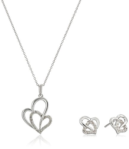 Sterling Silver Diamond-Accented Double-Heart Pendant Necklace and Earrings Jewelry Set (1/5 cttw) ()
