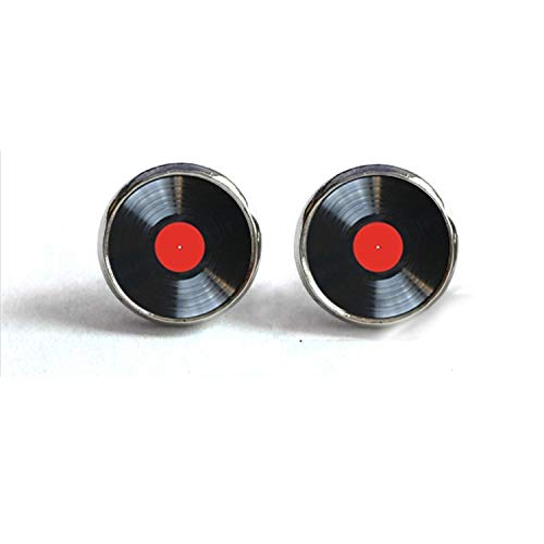 (2019 New Arrival Vinyl Record Stud Earrings Round Jewelry Glass Dome CD Record Earrings Music Charms Wholesale,1,Bronze)