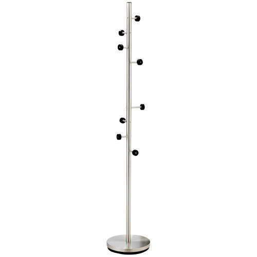 Adesso WK2030-22 Swizzle Coat Rack, Satin Steel Finish with Black Hooks