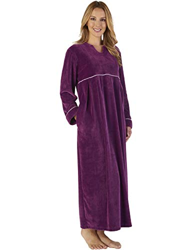 Slenderella GL2792 Women's Luxury Velvet Dressing Gown Loungewear Bath Robe Robe Plum