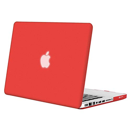 MOSISO Plastic Hard Shell Case Cover Only Compatible Old MacBook Pro 13 Inch (A1278 CD-ROM), Release Early 2012/2011/2010/2009/2008, Red