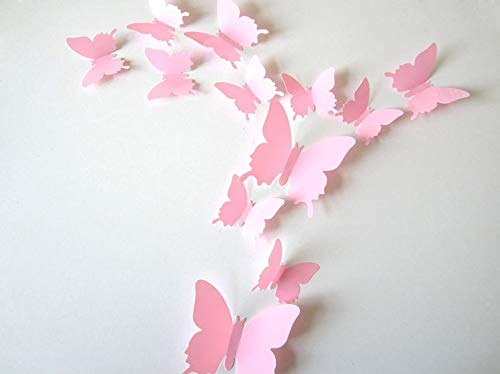 (ufengke® 12-Pcs 3D Butterflies Wall Stickers Fashion Design DIY Butterfly Art Decals Crafts Home Decoration, Pink)