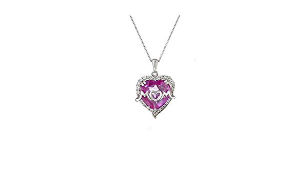 Silvercartvila Mothers Day Special Princess Cut Pink Sapphire /& Diamond Mom Heart Pendant Necklace