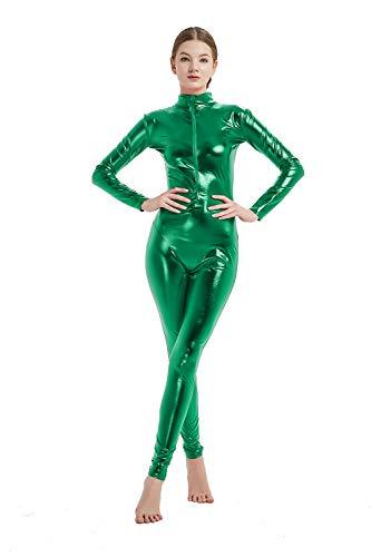 Full Bodysuit Womens Shiny Metallic Without Hood Gloves Socks Chest Zipper Lycra Adult Costume Zentai (Large, Green)
