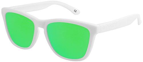 X verde Gafas Hombre blanco sol de Dama Unisex Vintage mate Caballero 024 CRUZE® 9 polarizadas Gafas estilo tipo Retro espejo Mujer Nerd HaCwHr6qx