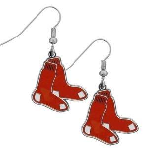 (MLB Team Logo Hypoallergenic Dangle Earrings (Boston Red Sox))
