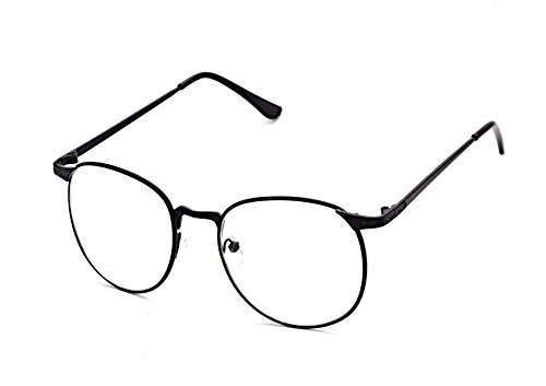 Flowertree S3115 Metal Frame Engraved Detail Side Round Eyeglasses (black, - Zero Glasses Prescription