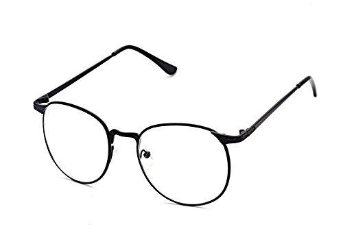 Flowertree S3115 Metal Frame Engraved Detail Side Round Eyeglasses (black, - Glasses Zero Prescription