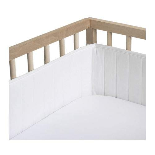 s - Breathable Crib Bumper Pads for Standard Cribs - 100% Silky Soft Cotton,4 Pieces/White ()