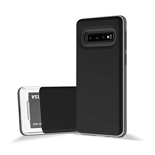 Design Skin Galaxy S10 Case, [Slider] Extreme Heavy Duty Triple Layer Bumper Protection of Sliding Wallet Card Holder Cover for Samsung Galaxy S10 - Matte Black