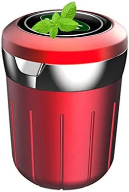 多機能車の灰皿、ランドローバーとの互換性、ふた付きすす収納缶旅行多色 (Color : 赤)