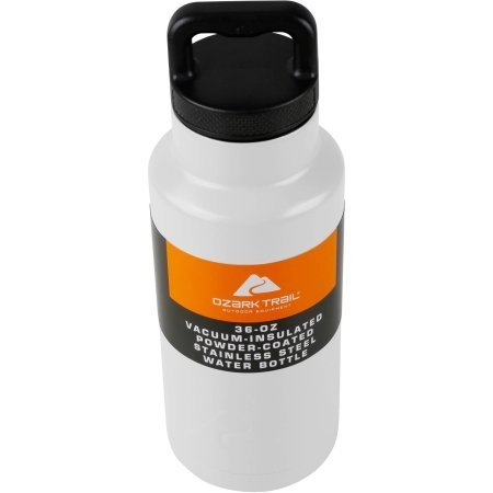 Ozark Trail 36OZ. POWDER COATED STAINLESS STEEL WATER BOTTLE-WHITE