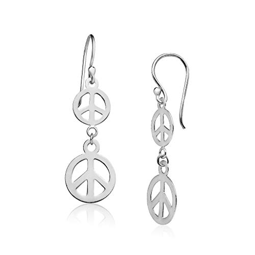 Big Apple Hoops - Genuine 925 Sterling Silver ''Be Recognized'' Lightweight Double Peace Sign Dangle Hook Earrings Delicate and Perfect Style | in 3 Polish Finishes (Silver, Yellow Gold, Rose Gold)