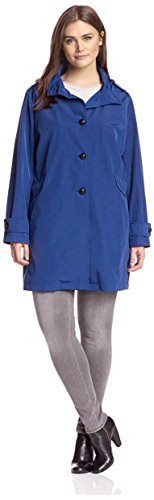 Jane Post Plus Women's Button Front Swing Coat, Cobalt 1X ()