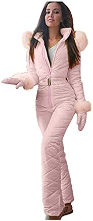 HuangLing Snowboard Skisuit for Women Thick Hot Soft Keep Warm Jumpsuit Zipper Casual Outerwear Hoodie Outdoor