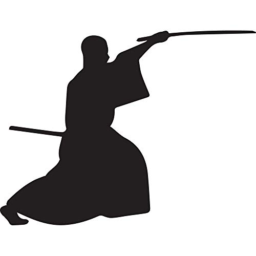 SAMURAI SILHOUETTE WARRIOR NINJA CLIPART 4 (BLACK) (SET OF 2) PREMIUM WATERPROOF VINYL DECAL STICKERS FOR LAPTOP PHONE ACCESSORY HELMET CAR WINDOW BUMPER MUG TUBER CUP DOOR WALL DECORATION - Free Clipart Silhouette