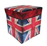 scout car organizer - Happy household Fabric Folding Storage Stool Ottoman Cube Storage Box Union Jack - Perfect for Toy and Shoe, Photo album, messy stuff in car