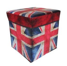 Happy household Fabric Folding Storage Stool Ottoman Cube Storage Box Union Jack - Perfect for Toy, Shoe, Photo album, messy stuff in - Union Jack