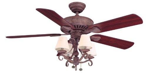 Hampton Bay Traditional 5-Blade Ceiling Fan with Rosewood or Honey Pine Blades, 52-inch Cobblestone Finish Dual Mount ()