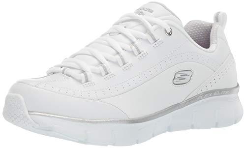 Skechers Women's Synergy 3.0 Sneaker, whitesilver, 7.5 M US (Sketcher Elite)