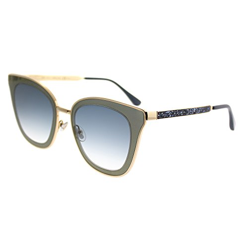 Jimmy Choo Lory KY2 Blue Gold Metal Cat-Eye Sunglasses Blue Mirror Gradient ()
