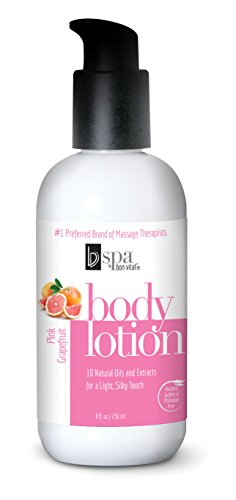 (BV Spa by Bon Vital' Moisturizing Body Lotion, Pink Grapefruit Scented Body Silk for Dry Skin Repair, Anniversary for Women, Moisturizer with Essential Oils for Soft Skin)