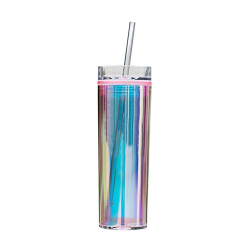 Bewaltz Holographic To Go Cold Cup 16 oz, Drink Cup Stylish Double Wall Insulated Tumbler With Lid and Reusable Straw, BPA Free, Party Gifts, Birthday Gifts, Pink