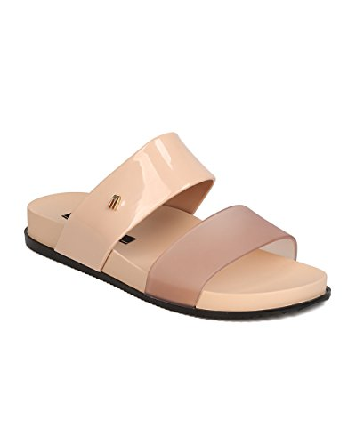 Cosmic Slide (Melissa Cosmic PVC Open Toe Double Band Slip On Sandal - Black/Beige (Size: 6.0))