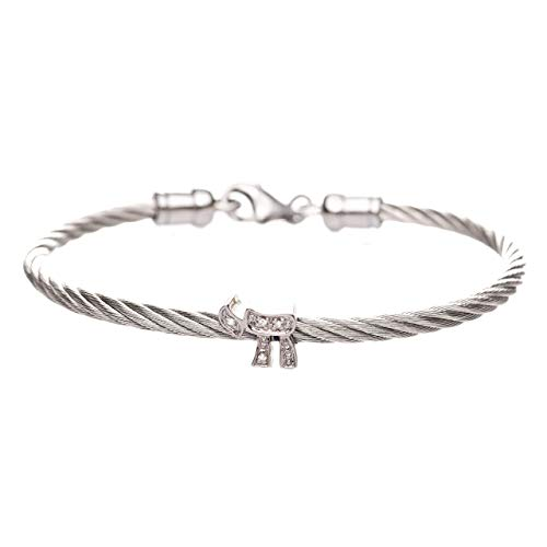 Silver Chai Bracelet Set With Diamonds 7 inches