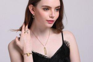 Vnox feuillards en acier inoxydable 18k dorés parures pour les femmes,les filles,collier + boucles d'oreilles