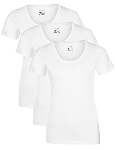 Berydale Damen T-Shirt mit Rundhals-Ausschnitt, 3er Pack, Weiß, M
