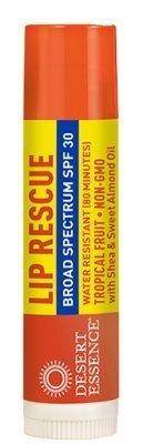Tropical Essence - Lip Balm-Lip Rescue Tropical Fruit SPF 30 Desert Essence .15 oz Lip Balm
