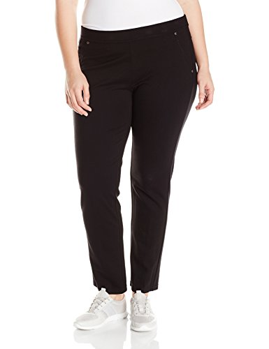 Calvin Klein Performance Women's Plus Size Ponte Back Pkt Straight Leg Pant, Black, 1X