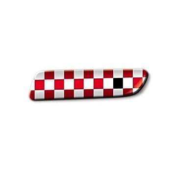 Fiat Badge Sport A Cuadros Blancos y Rojos Originales 500: Amazon.es: Coche y moto