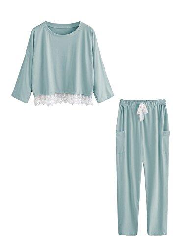 Sleeve 2 Piece Pajamas - SweatyRocks Women's Cotton Sleepwear 3/4 Sleeve Lace Top and Pants Set 2 Piece Pajamas Green M