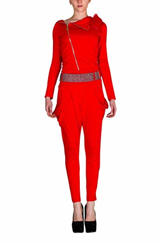 VIRGIN ONLY Women's Easy Fit Jumpsuit (Fur Red, Size S)