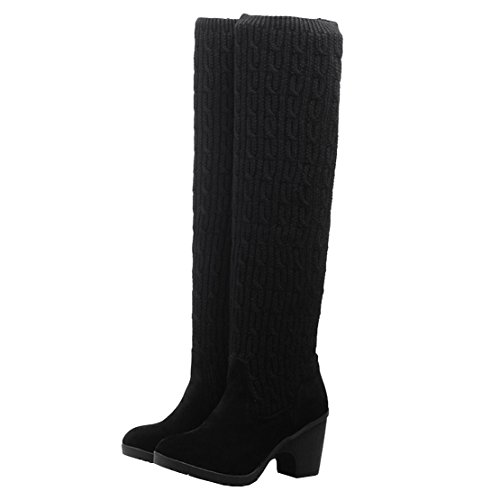 AIYOUMEI Womens High Block Heel Over The Knee Scoks Boots Tight Ladies Slip On Thigh High Boots Winter Knit Boots Black hp7L2Er7