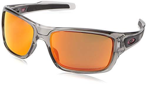 Oakley Men's OO9263 Turbine Rectangular Sunglasses, Grey Ink/Prizm Ruby Polarized, 65 ()