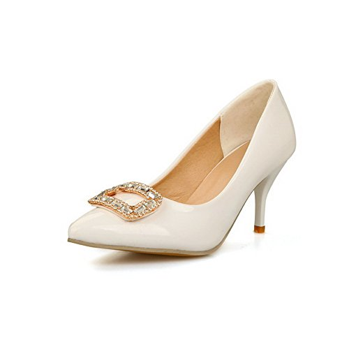 AmoonyFashion Womens Pu Solid Pull On Pointed Closed Toe Spikes Stilettos Pumps-Shoes White ImbTs