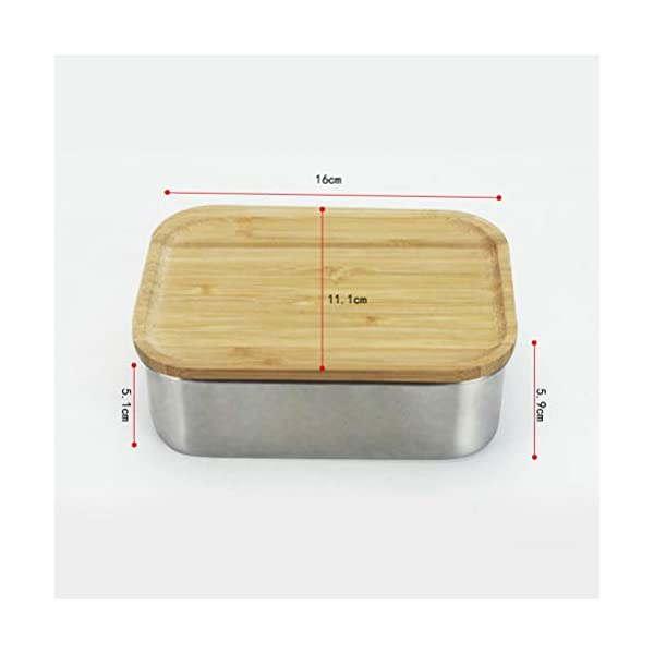 122bb95ec1aa BESTONZON 800ML Stainless Steel Square Lunch Box with Wood Lid Food  Container Bento Box School Outdoor Camping Lunch Box