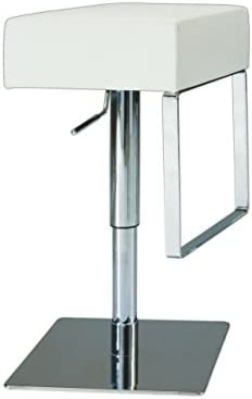 Chintaly Imports Pneumatic Gas Lift Adjustable Height Swivel Stool, Brushed Steel White
