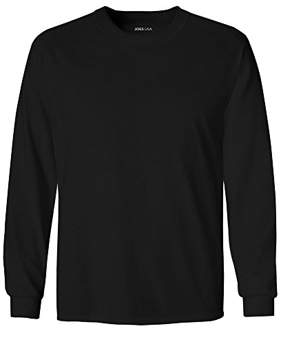 Joe's USA tm Youth Long Sleeve Cotton T-Shirt-Black-S