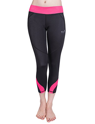 Womens Low Fit Crop Pant (Baleaf Women's Workout Running Yoga Capri Leggings 3/4 Length Pink Size S)