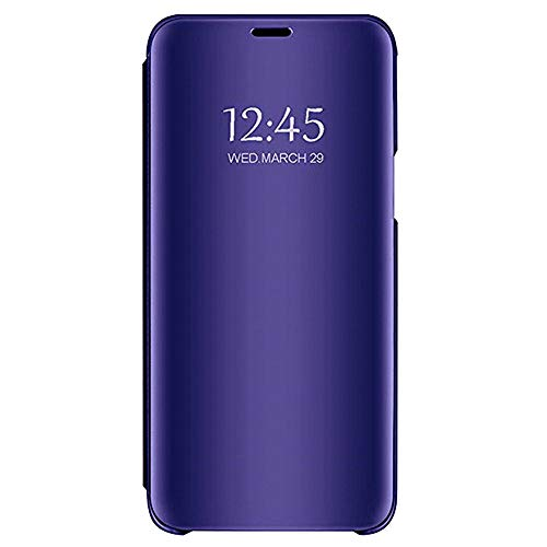 OutTop for iPhone/Apple XS Max 6.5 inch,Luxury Smart Sleep Wake UP Clear View Mirror Flip Leather Stand Holder Case Cover (6.5 inch, Blue- Purple)