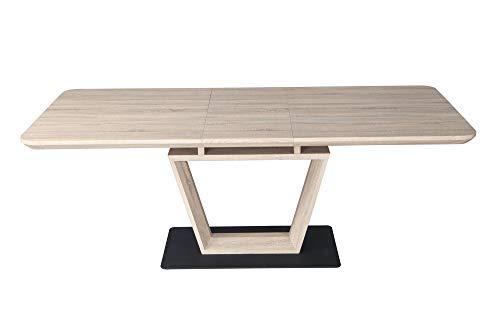 Muebletmoi - Mesa de comedor extensible 160/200 cm, rectangular de roble con pie central – Diseno moderno – Luccia