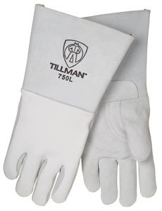 John Tillman and Co 750S 14'' Top Grain Elk Cotton/Foam Lined Welders Gloves with Straight Thumb, Stiff Cowhide Cuff, Welted Fingers, Kevlar Stitching and Pull Tab (Carded), Small, Pearl Gray