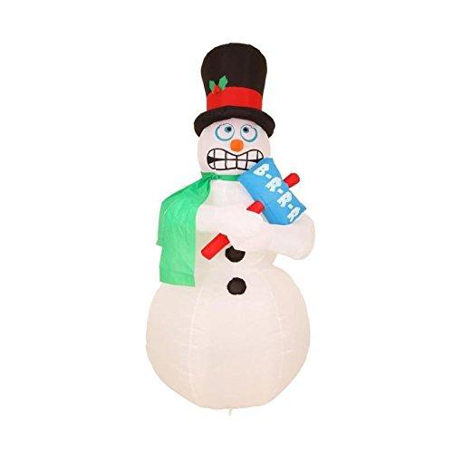 Muñeco de nieve hinchable grelotant altura 180 cm blanco y negro ...